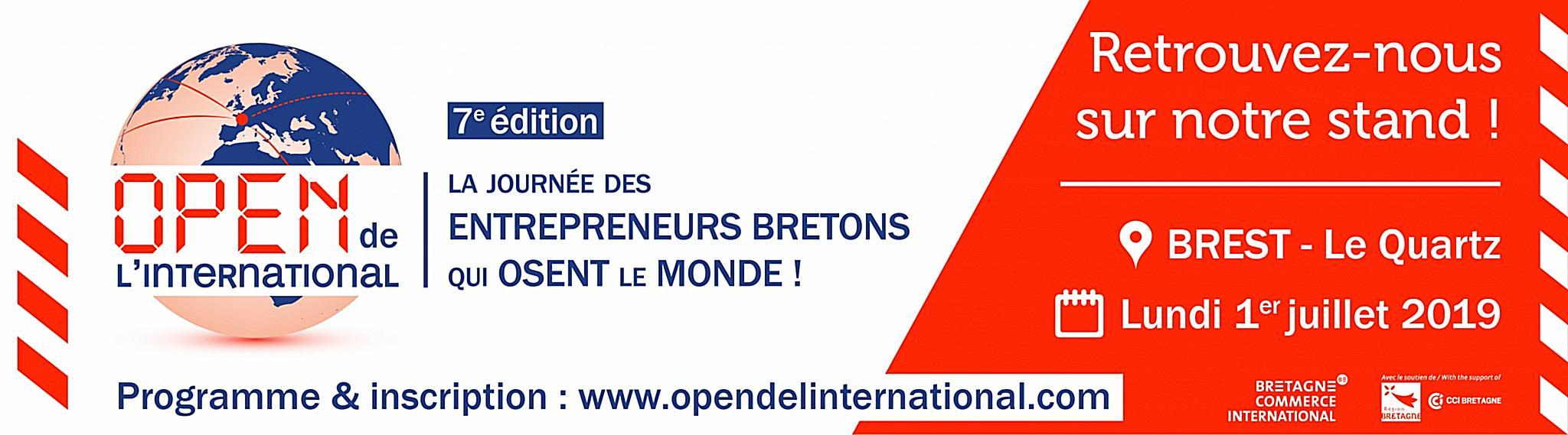 Bannière de l'Open de l'international contenant la date et le lieu de l'événement